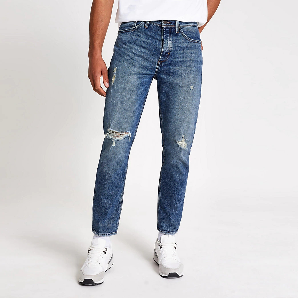 Slightly Ripped Tapered Leg Ripped Detail Regular Men Jeans Pants