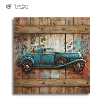 Oldschool green car vintage home decoration 3d wall hanging 3d metal wall art
