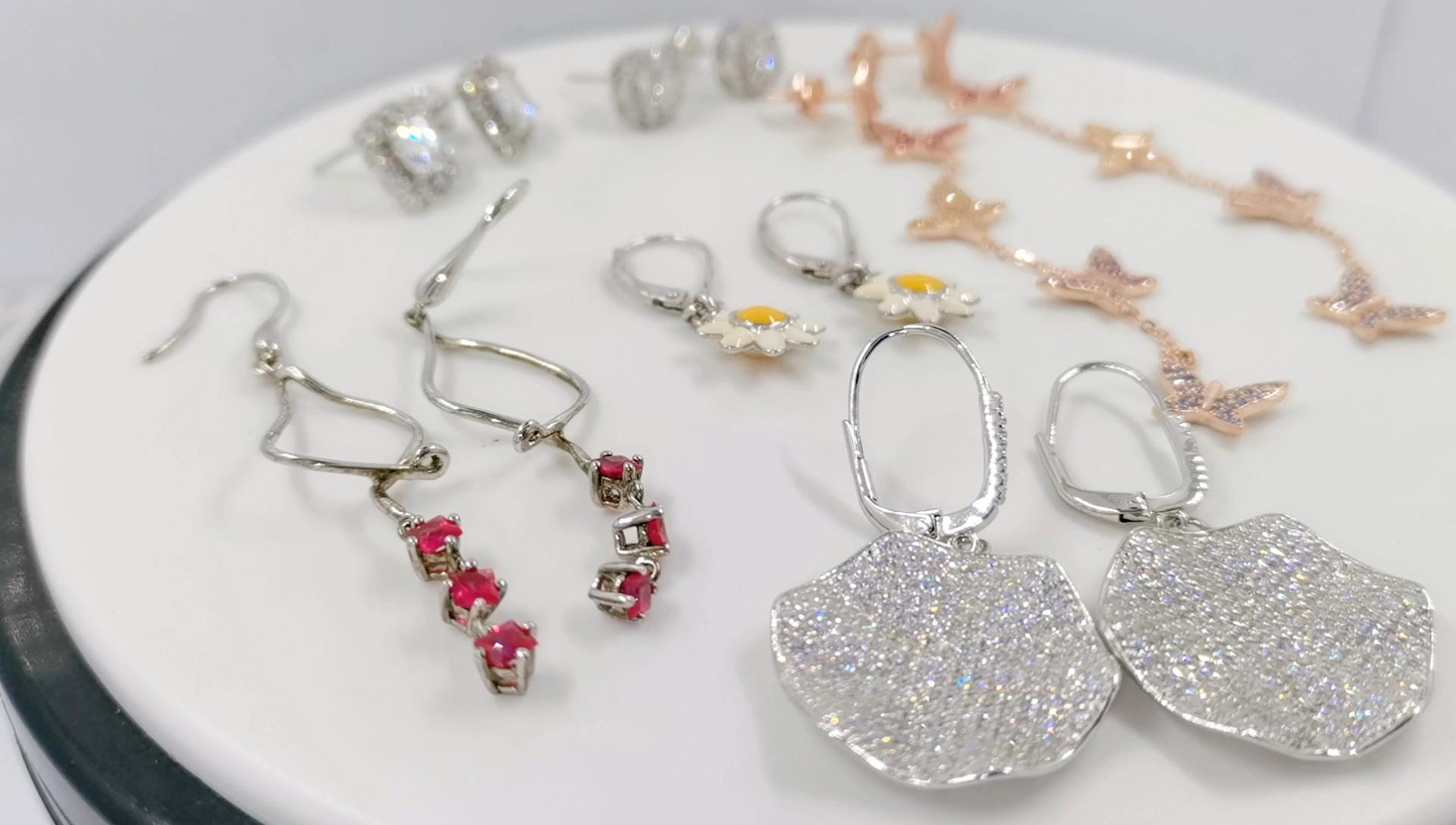 الجملة أزياء الزفاف المرأة الراين مصمم شعبية مجوهرات 925 الفضة الاسترليني CZ البيان مسمار أقراط