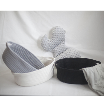 100% natural woven mini cotton rope basket foldable handle cloth storage cube crochet laundry basket