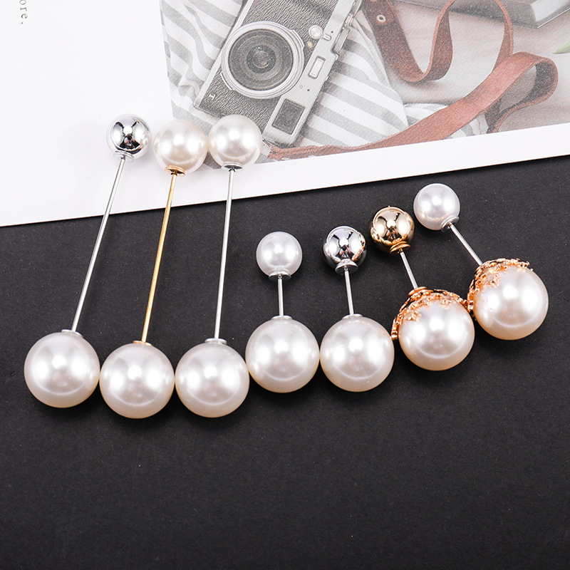 High Quality Vintage Pearl Gold Brooch Pins Double  Pearl  Brooches  For Women Wedding Jewelry Accessories
