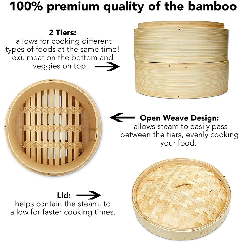 Chinese food standard handmade bamboo steamer with cover