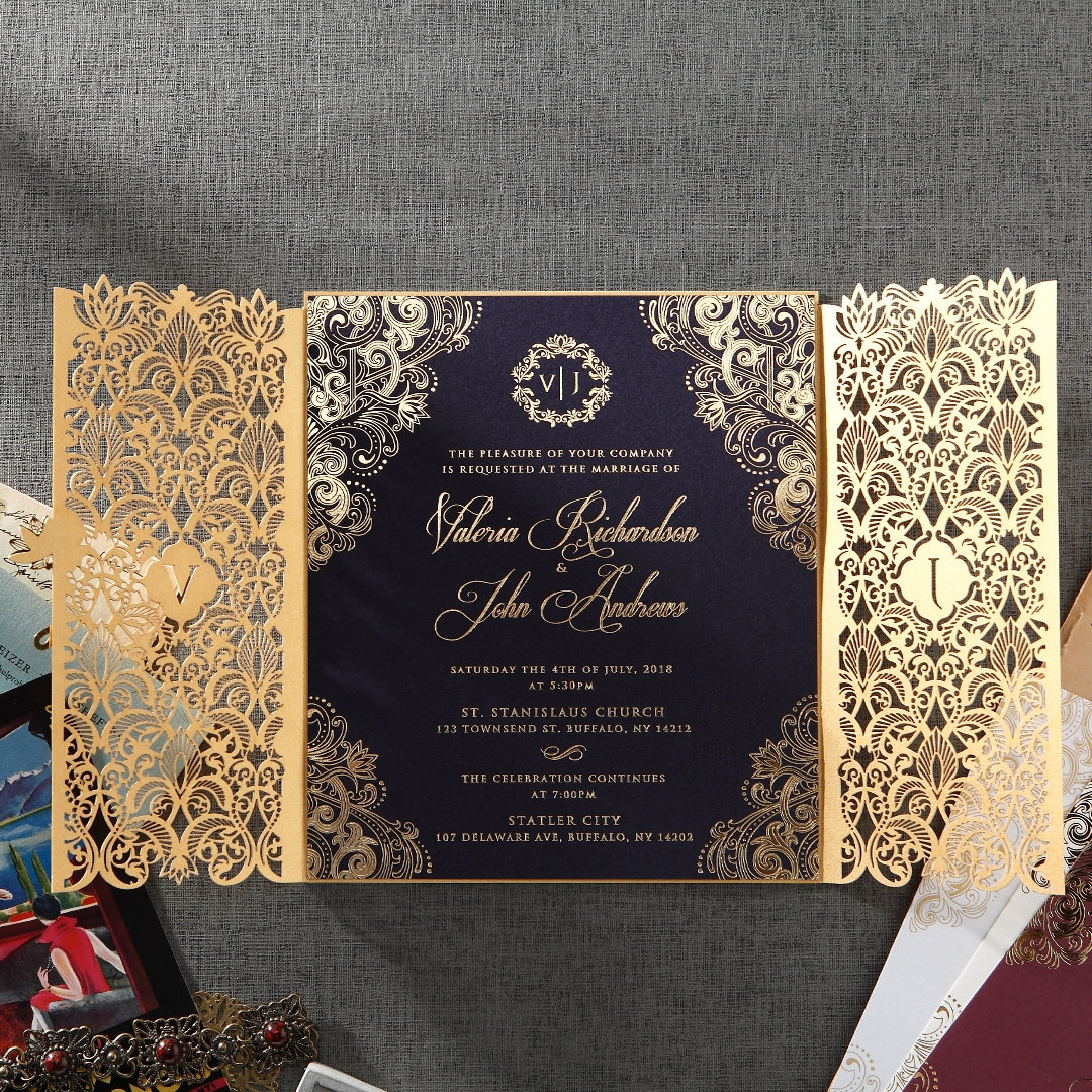Elegant royal gold <strong>wedding</strong> <strong>invitations</strong> <strong>luxury</strong> <strong>wedding</strong> <strong>invitations</strong> laser cut <strong>invitations</strong> with affordable price