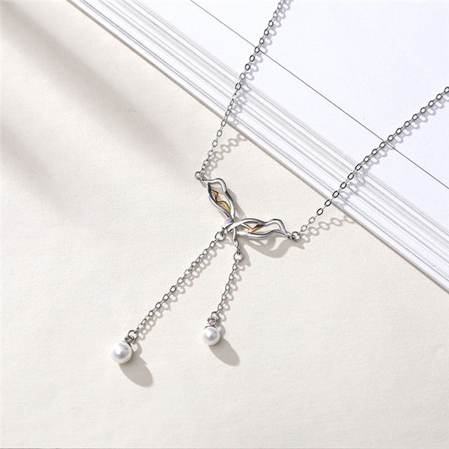 Personalized Autumn And Winter Sweater Chain 925 Sterling Silver Tassel Pearl Butterfly Necklace