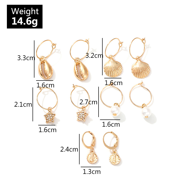 European and American fashion new natural pearl starfish shell diamond five-pointed star earrings set