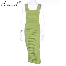 Simenual однотонное платье из гофрированной ткани с сексуальное облегающее Платья для вечеринок Для женщин модное нарядное платье без рукавов ...(Китай)