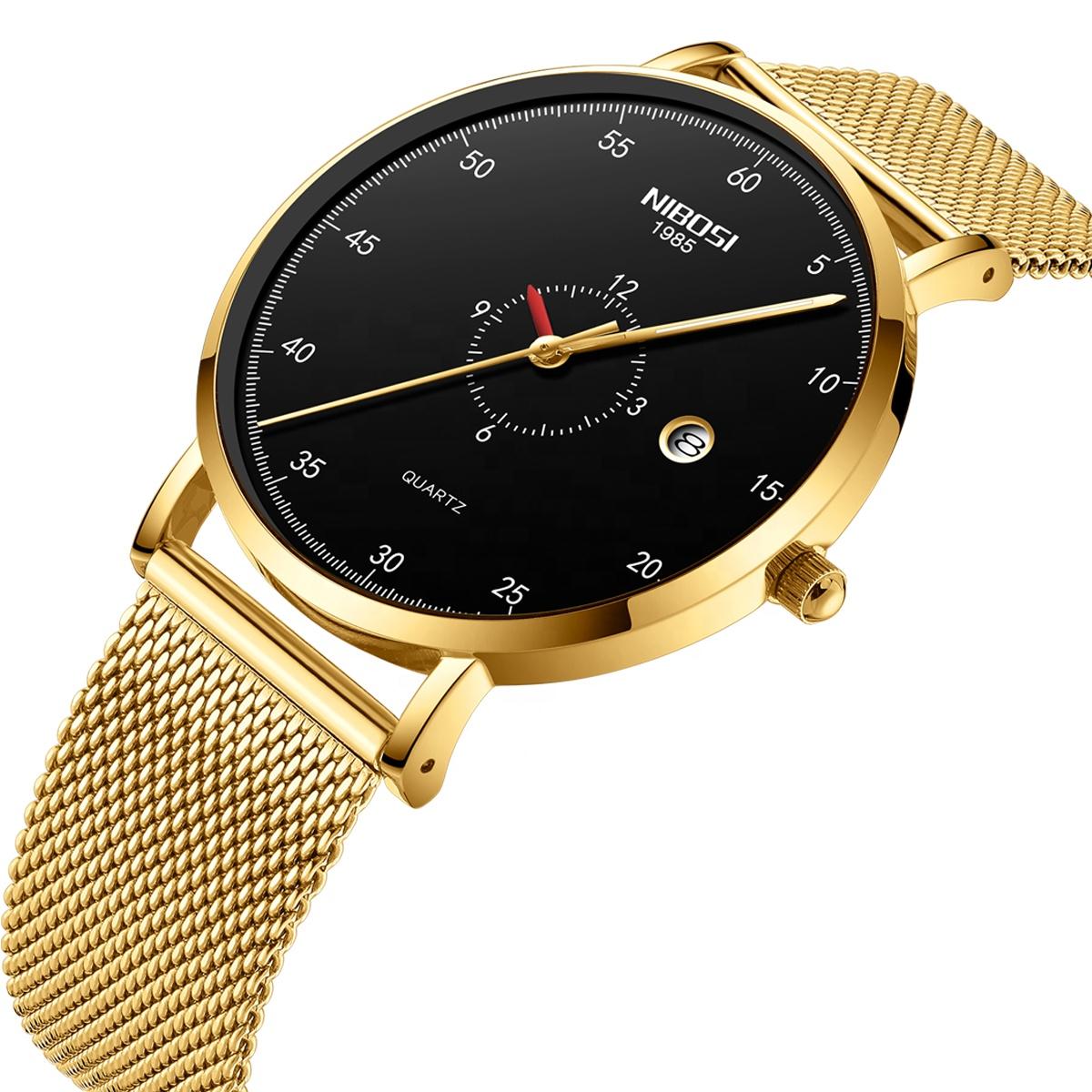 NIBOSI 2360 Mens Watches Top Brand Luxury Fashion Watch Slim Mesh Date Waterproof Quartz Watch