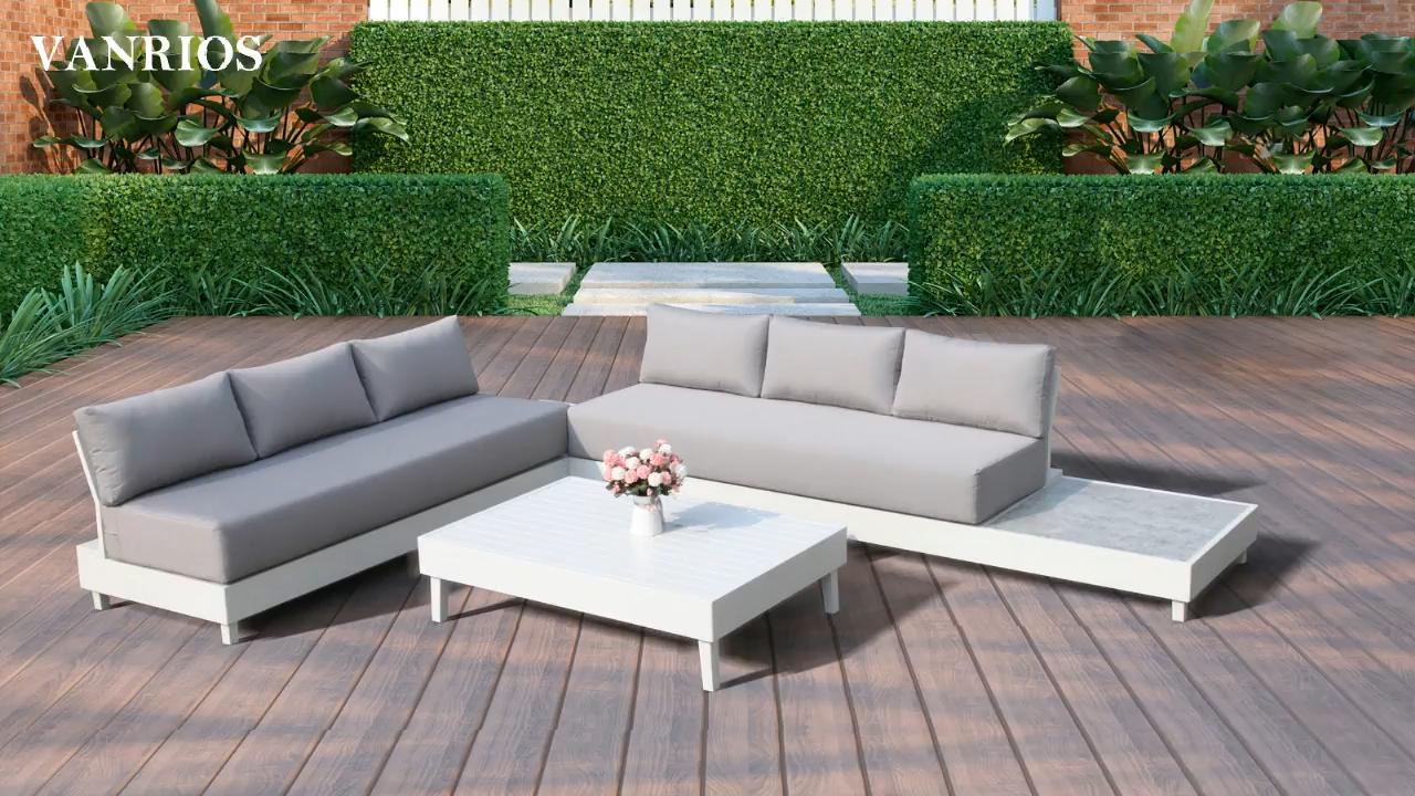 Modern Furniture Cushion Garden Flat Color Feat Aluminium  Patio outdoor garden  sofa sets  for hotel restaurant deck furniture