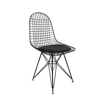Factory Cheap Price Mid Century Modern Design Metal Frame Bend Black Wire Iron Dining Chair