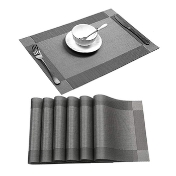 Waterproof and oilproof insulation table mat PVC placemat, Cheap rubber vinyl oval table placemats Gray Color