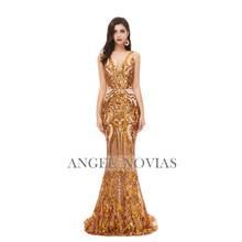 Настоящее фото длинное Горячее предложение черный V образным вырезом платья для выпускного с корсетом 2020 Формальное вечернее платье Elegantes De...(Китай)