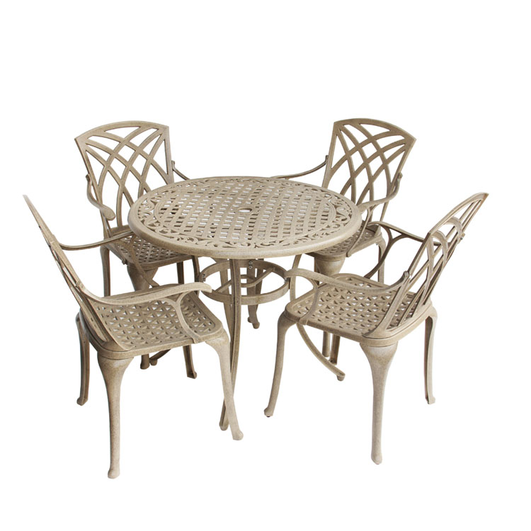 5 Piece cast aluminum Garden Patio Furniture Dining Set Round 1 Table and 4 Chairs