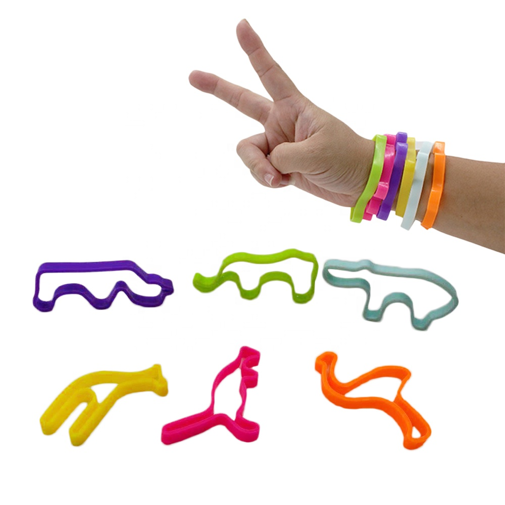 Kangaroo Elephant Flamingo Giraffe Shape Jumbo Buddy Bands Jungle Series Silicone Wristbands