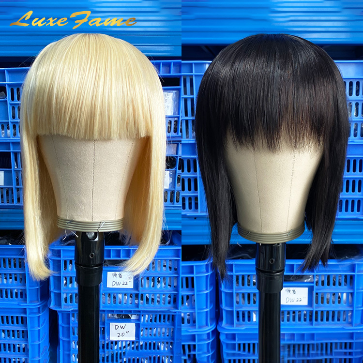 Luxefame Stock For Black Friday 1B/613 Blonde Machine Made <strong>Human</strong> <strong>Hair</strong> <strong>Wigs</strong> 8-14 Inch Glueless Bob Short <strong>Wig</strong> Black Women