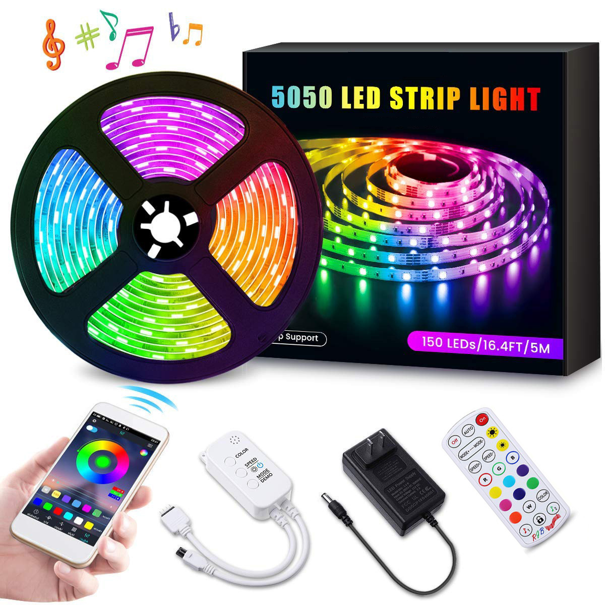 App controlled Remote Controlled SMD5050 leds RGB Color Flexible Led Strip Light