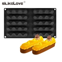 Silikolove 8 Holes Wave Oval Curved Molds Silicone Mold Cake Decorating Tools Mold For Baking Dessert Mould Mousse Chocolate Pan