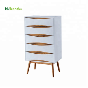 White 5 tiers dresser drawer organizer wholesaler storage drawers wooden bedroom furniture chest set