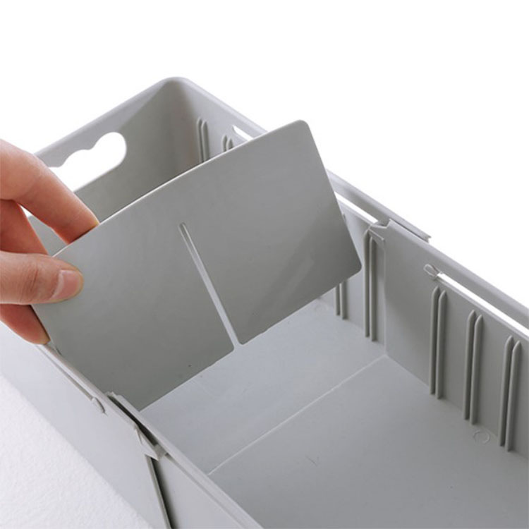 China wholesale good quality Grey Pink White Green 4 colors  Adjustable partition size Split underwear storage box