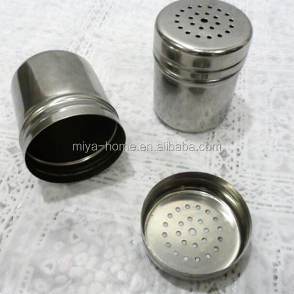 High quality Stainless Steel Spice Cans with Cover / Jar Dredge Salt Sugar Pepper Shaker Seasoning Bottle