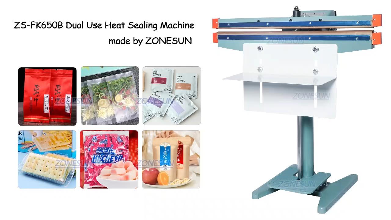ZONESUN ZS-FK650B полиэтиленовый пакет для термической запайки машина, полировальная машинка для ног двойного назначения для нагрева алюминиевой фольги упаковщик пищевых продуктов оборудование по производству напитков