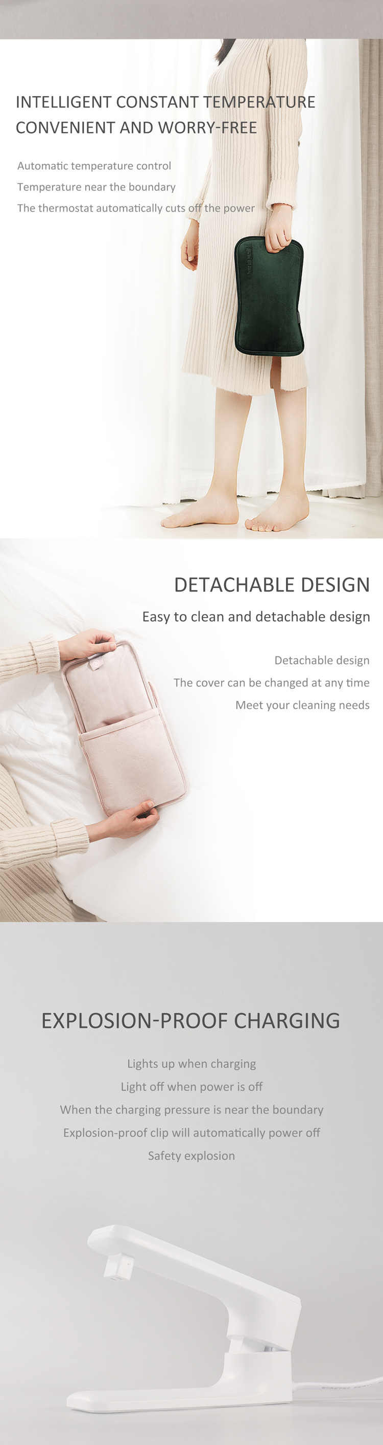 Safety And High Quality Rechargeable Electric Hot Water Bag With Hand Pocket For Women Baby Use