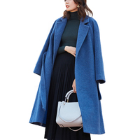 Latest Fashionable Winter Women Double Face Cashmere Wool Coat with Belt Long Wool Coat