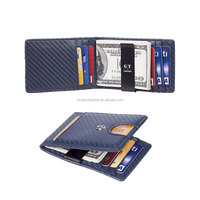 2020 Men's Leather Wallet RFID Blocking Thin Front Pocket Minimalist Slim Wallet With Metal Money Clip