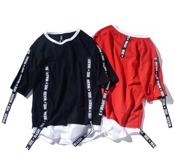 New customized ribbon hip hop style men's cotton shirt with short sleeves