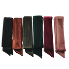 China Factory Custom Wholesale Silk Velvet Solid Color Narrow Long Hair Wrap Scarf