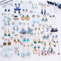 CLARMER Fashion Style Women Jewelry A Variety Of Haze Blue Earrings Studs Pearl Rhinestone Dangle Fringe Earrings