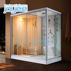 JOYEE 2 person customized Wood dry sauna and wet steam combined room/sex sauna SPA steam shower cabin bath ozone steam sauna