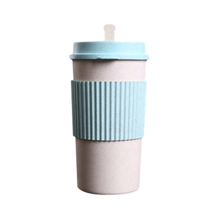 AFTCE079C Environmental Protection Reusable Office Travel Kids Tea Cup With Lid And Straw