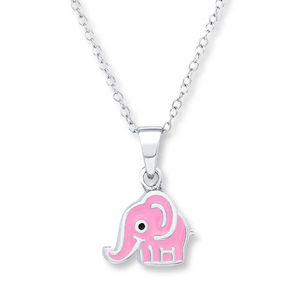 Children's Pink Elephant Necklace Nice Design 925 Sterling Silver Jewelry