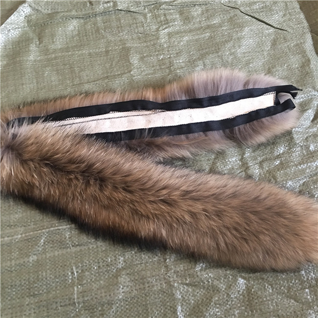 100% Raccoon Fur Scarf winter large collar