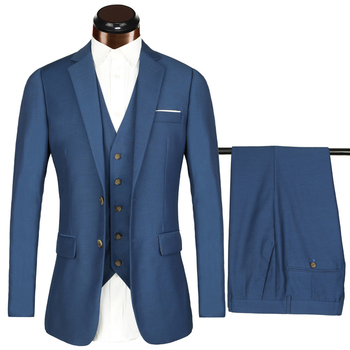 Net color fabric three-piece suit featuring horn buckle
