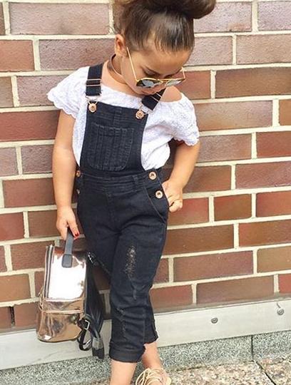 2 uds. Conjunto de ropa de moda para niñas 2019, ropa de verano para niñas, parte superior blanca + Pantalones con agujeros de tela vaquera, ropa para niños