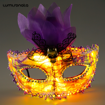 Led mask party Mardi Gras Masks Halloween Masquerade Mask For Girls