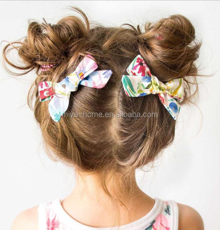 New children's hairpin / flower printed cotton student hairgrips / BB clip popular baby hair accessories