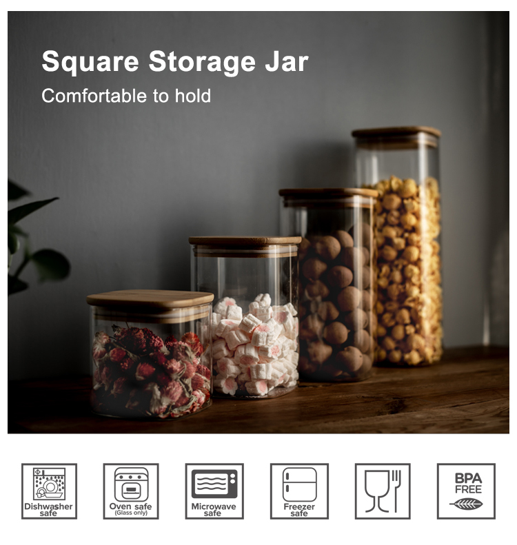 Airtight square shape mix size kitchen glass storage jar with bamboo lid