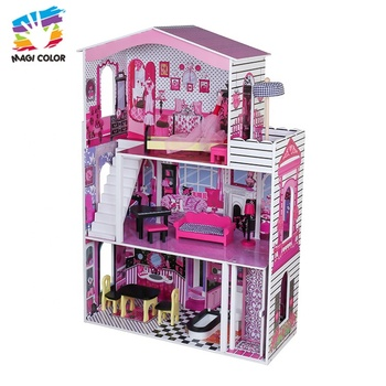 OEM/ODM girls wooden large dolls house with furniture W06A355C
