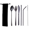 6pc black tableware & black bag