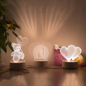 Romantic Love 3D Lamp Heart-shaped Acrylic LED Night Light Decorative Table Lamp for Valentine's Day Sweetheart Wife's Gift