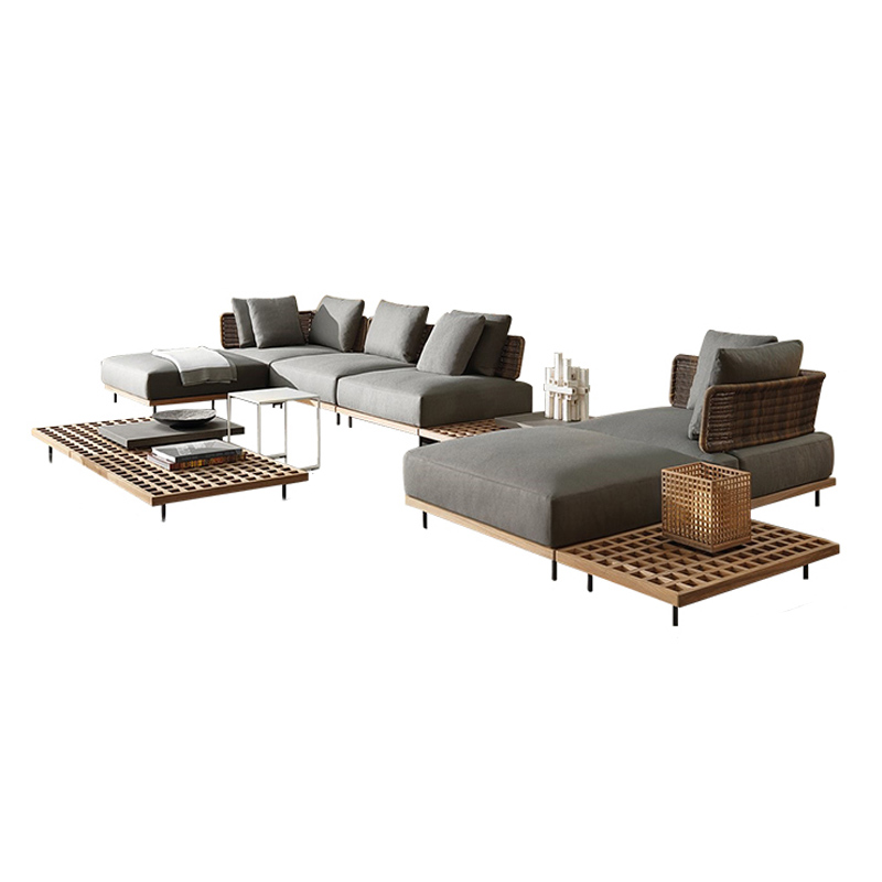 Modern Rattan Wood l Shaped Grey Couch Living Room Garden Set Furniture Sofa Bed Outdoor Sofa