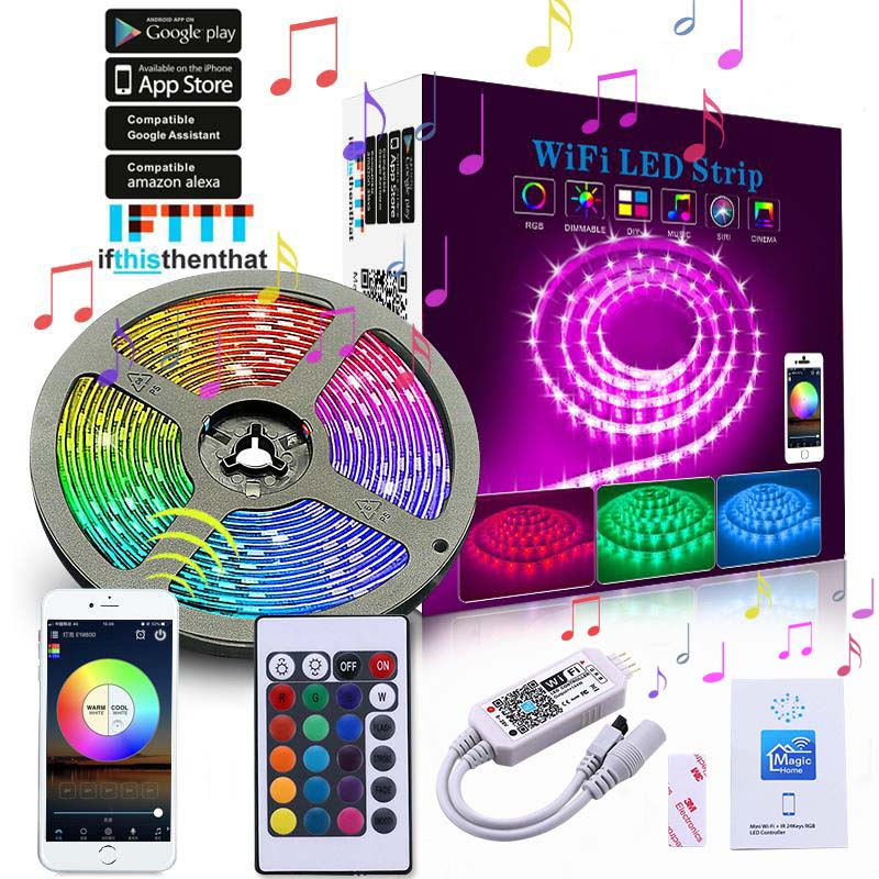 Online shop hot sale smart wifi led strip lights works with alexa smart wifi smart strip light bulb