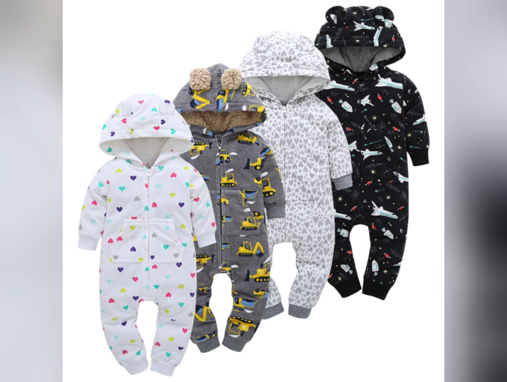 Wholesale Warm Baby Clothing Thick Fleece Long Sleeve Winter Baby Pajamas