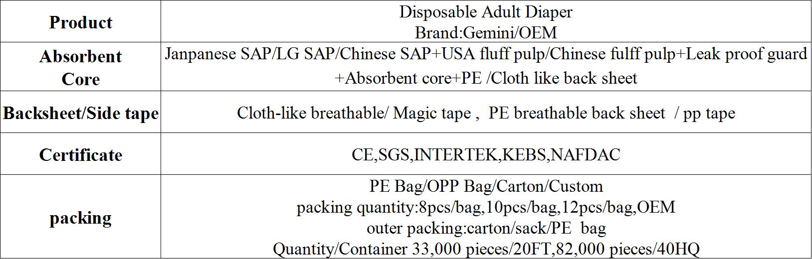 चीन से सस्ते वयस्क डायपर देखभाल दैनिक थोक सबसे अधिक लागत-प्रभावी सस्ते वयस्क डायपर