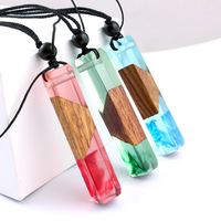 Latest Fashion Handmade Rectangle Long Wood Resin Pendant Necklace Jewelry