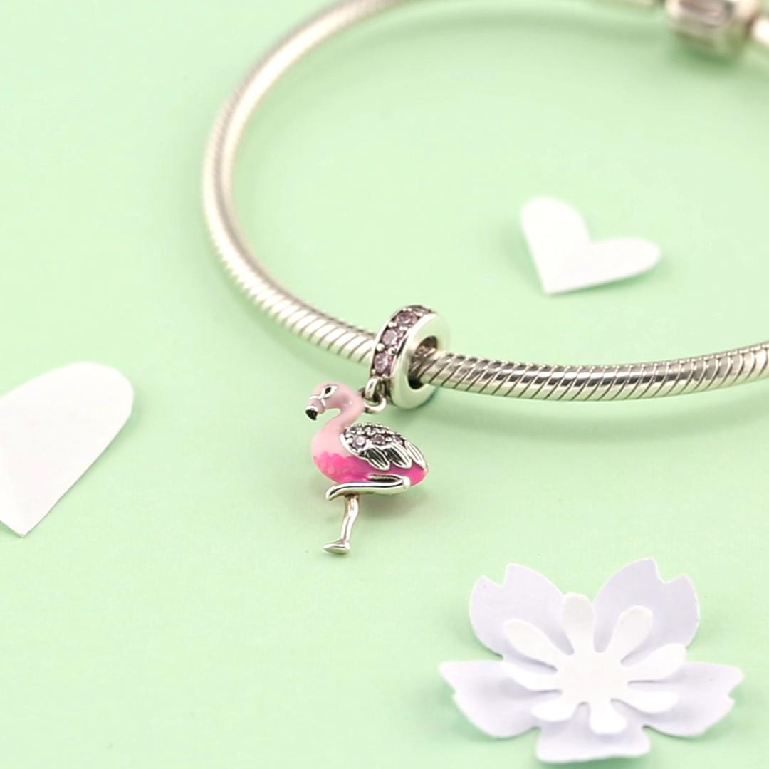 Verdadeiro 925 sterling silver Esmalte Elegent Flamingo rosa com limpar zircon belas Pingente Encantos para Pulseiras de jóias Por Atacado