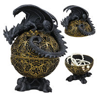 Dragon Perching On Egg With Claw Feet Jewelry Box Statue