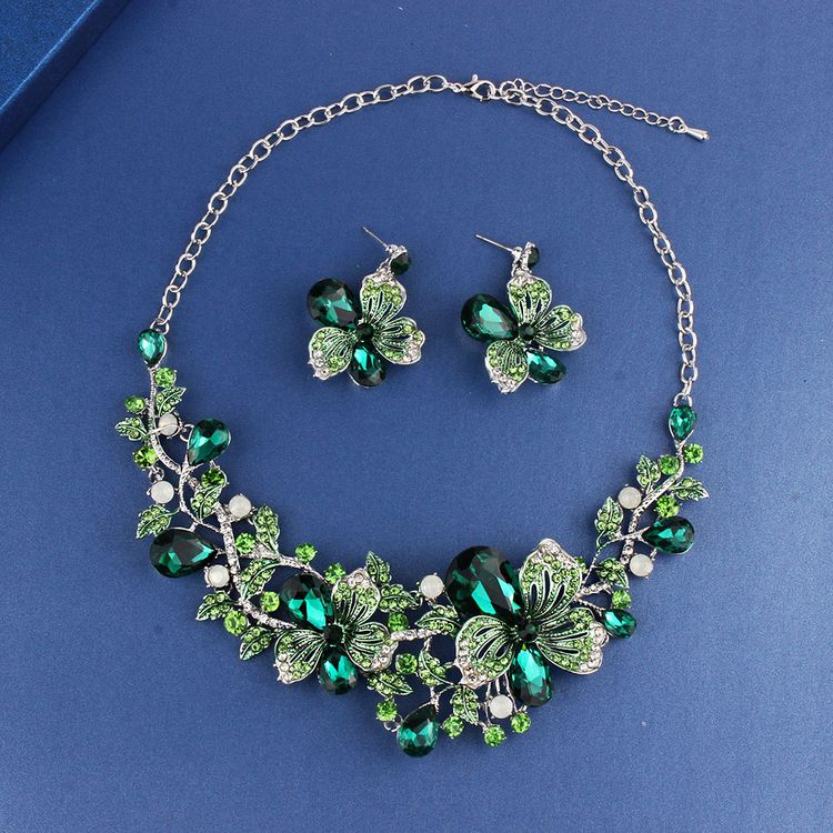 Fashion Indian Wedding Ornaments Bridal Set  Full Diamond Crystal Necklace Earrings Exaggerated Multi Color Flower Jewelry Set
